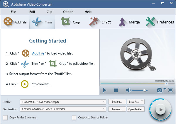 Avdshare Video Converter full screenshot